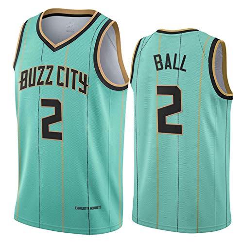 Lamelo Ball Jersey para Hombre, Charlotte Hornets 2# 2021 Temporada City Edition Basketball Jerseys, Fan Jersey Training Training Ropa T-Shirt Regalo (S-XXL) Green-XXL