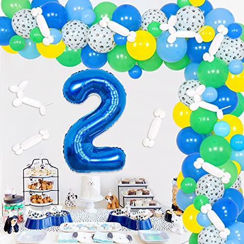 Paw 2nd Birthday Decoraciones Paw Patrol Globo Garland para niñas Niños Lets Pawty Puppy Paw Theme Party Dog Birthday Party Supplies Blue Green Yellow Balloon Arch Kit