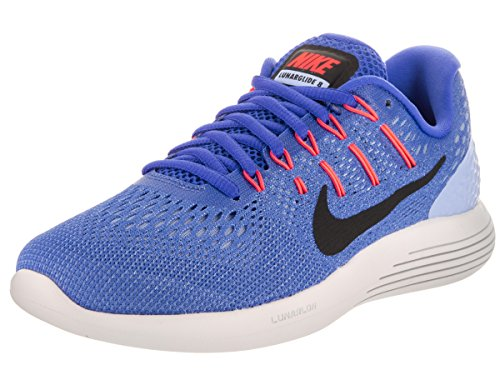 Nike Wmns Lunarglide 8, Sneakers Mujer, Azul (Med Blue/Black/Aluminum/Hot Punch/Summit White), 41 EU