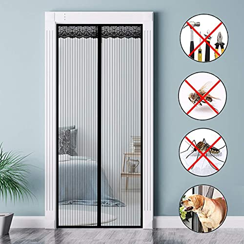 GOUTUI Magnetic Screen Door 110x210cm Mesh Curtain Portable Screen Door Easy to Install without Drilling for Kitchen/Bedroom/Air Conditioner Room, Black