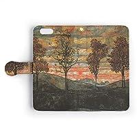 iPhoneケース 手帳型 カバー 「世界の名画」 エゴン・シーレ / 4本の木 / カード収納 ストラップホール付 スマホケース