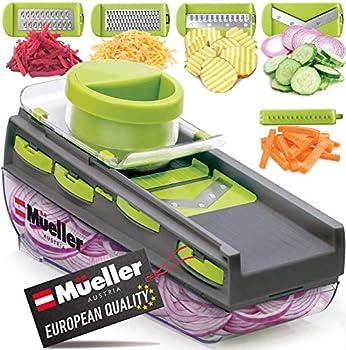 Mueller Mandoline Slicer Premium Quality V-Pro Five Blade Adjustable Vegetable Slicer Cutter Shredder Veggie Slicers for Fruits and Vegetables