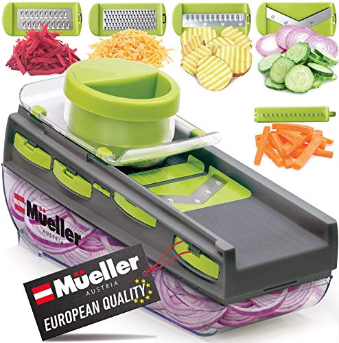 Mueller Mandoline Slicer, Premium Quality V-Pro Five Blade Adjustable Vegetable Slicer, Cutter, Shredder, Veggie Slicers for Fruits and Vegetables