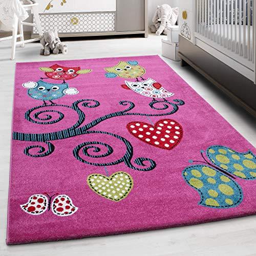HomebyHome Kinderteppich Kurzflor Eule Design Kinderzimmer Spielzimmer Babyzimmer Pink, Farbe:Lila, Grösse:160x230 cm