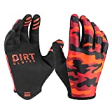 Dirt Gloves Thin Summer Mountain Bike Gloves MTB Bicycle Enduro Downhill XC Cycling Motocross Sports Full Finger (XX-Large, Red Camo)