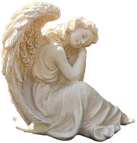 DSDD Angels Garden Statue/Figurine, Sleeping Grace Sitting Angel Figure Sculpted Statue Medium Garden Decoration for Indoor Outdoor Patio,25 * 21 * 23Cm