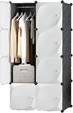 XBZHYG Portable Closet,White Clothes Wardrobe Bedroom Armoire Storage Organizer, Capacious & Sturdy, 8 Grid 1 Hanging, Size: 75×47×147cm