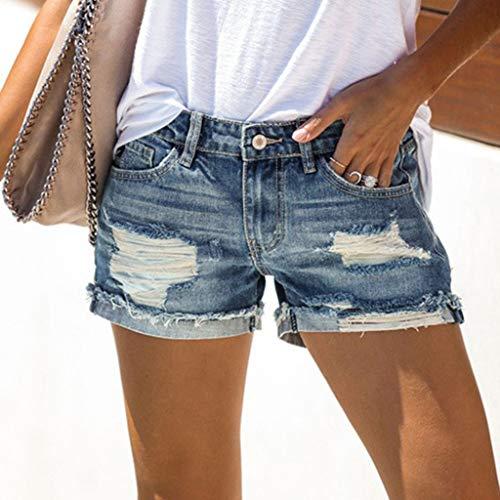 Kurze Hose XS S M L Neu Jeans Short Perlen Hotpants Blogger Boyfriend Vintage 34
