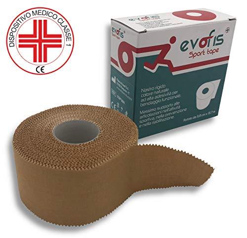 Evofis Sport: Tape sportivo all'ossido di zinco ad alta adesività. Ideale per bendaggio funzionale e attività sportiva. Dispositivo Medico certificato. 1 rotolo da 3,8 cm x 13,7 m colore naturale