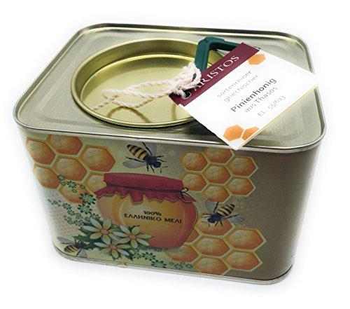 ARISTOS 2kg griechischer Pinien Honig | Thassos Griechenland | kräftiger würziger Geschmack | im 2 KG Kanister | kaltgeschleudert ungefiltert ohne Beimischung | Ernte August 2019 (1x 2 kg)