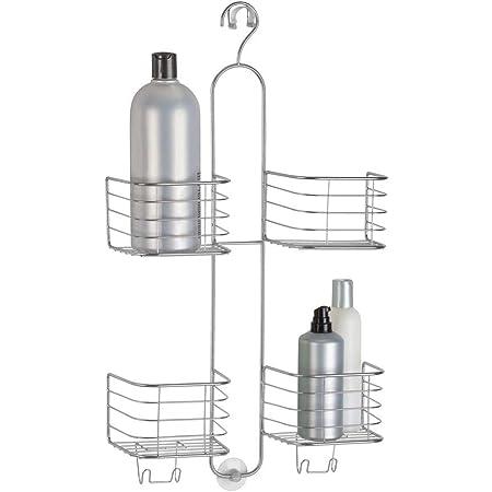 Duschk/örbe zum H/ängen aus f/ür s/ämtliches Duschzubeh/ör mDesign Duschablage zum H/ängen /über die Duscht/ür silberfarben Duschregal ohne Bohren zu montieren