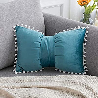 """MNEY Sky Blue 18""""x12"""" Velvet Bow Knot Pillow Cover Case Velvet Throw Pillow Covercase Cushion Cover, Bow Pillow, Bow Throw Pillow Covers Decorative Home décor"""