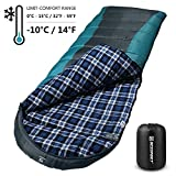 Bessport Sleeping Bag Winter | 14℉/-10℃ Extreme 3-4 Season Warm & Cool Weather Adult Sleeping Bags Large | Lightweight, Waterproof for Camping, Backpacking, Hiking (Grey-Flannel Lined)