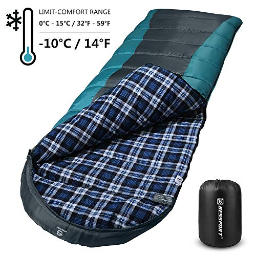 Bessport Sleeping Bag Winter | 32℉/0℃ Extreme 3-4 Season Warm & Cool Weather Adult Sleeping Bags Large | Lightweight, Waterproof for Camping, Backpacking, Hiking (Flannel Lined-Grey)