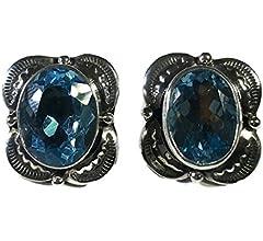 southwestern 925 with pearl topaz and teardrop amethyst dangles Stamped 925 Vintage Sterling silver handmade earrings