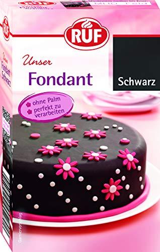 RUF Fondant Schwarz • Ohne Palmöl • Einfach zu verarbeiten, 3er Pack (3 x 250 g)