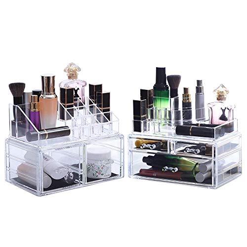 Oule GmbH Kosmetik Aufbewahrungsbox mit 4 Teile für Schminke Utensilien in XXXL Paket für Badzimmer Schminktisch* mit 12-Monate-Geldzurückgarantie
