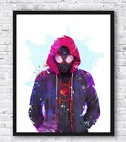 Spiderman, Spider Verse, Miles Morales, Watercolor Print, Superhero, Movie Poster, Avengers, Marvel, Wall Art, Kids Room Decor, Home Decor