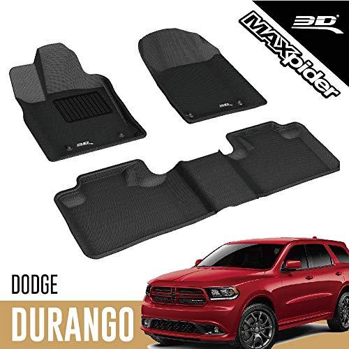 3D MAXpider Dodge Durango 5-Seater 2012-2020 Custom Fit All-Weather Car Floor Mats Liners, Kagu Series (1st & 2nd Row, Black)