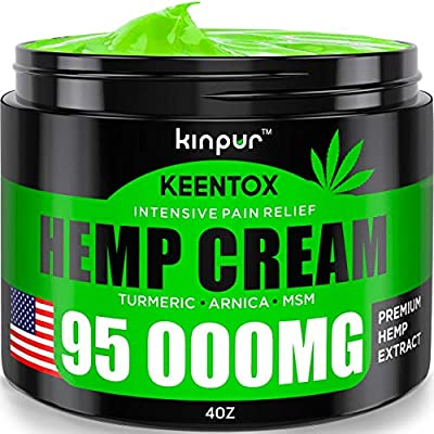 Hemp Pain Relief Cream - 95 000MG - Relieves Muscle, Joint Pain, Lower Back Pain, Knees, and Fingers - Inflammation - Hemp Extract Remedy - Hemp Oil with MSM - EMU Oil - Arnica - Turmeric Made in USA by Kinpur
