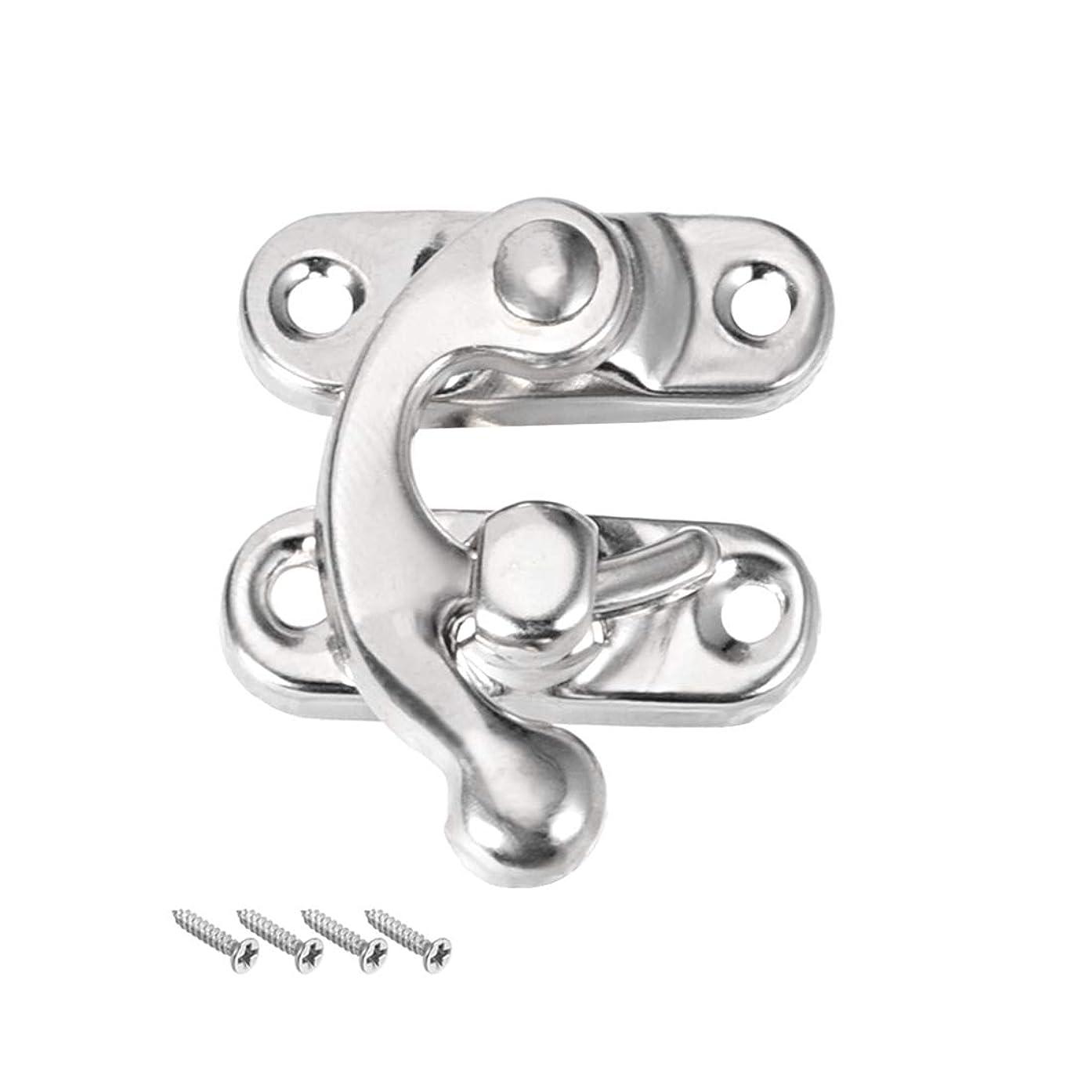 uxcell Antique Left Latch Hook Hasp, Swing Arm Latch Silver Tone 5 Pcs w Screws