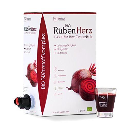 FITRABBIT BIO Rüben Herz [3 L Bag in Box] - 50 Portionen - Für Leistungsfähigkeit, Blutdruck & Blutgefäße - Enthält Rote Beete, Granatapfel, Sauerkirsche, Kräuter, Gewürze und Acerola