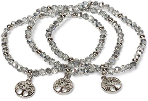 styleBREAKER 3er Set Perlen Armband mit Lebensbaum Charm Anhänger, Gummizug, Kugelarmband, Schmuck, Damen 05040138, Farbe:Silber