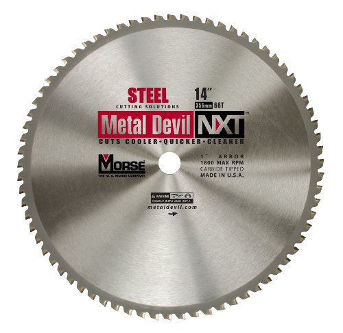 MK Morse CSM1466NSC Metal Devil NXT Circular Saw Blade 14-Inch Diameter, 66 Teeth, 1-Inch Arbor, for Steel Cutting