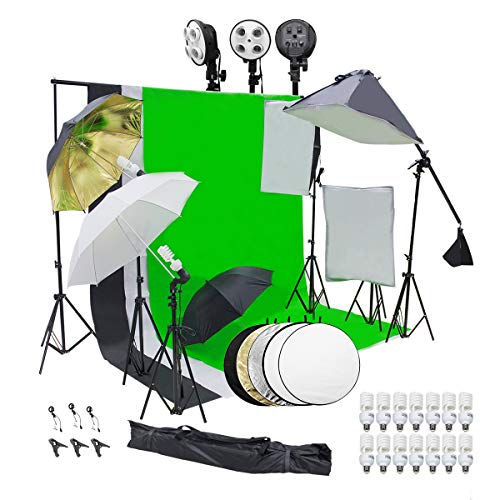 Wisamic Photography Lighting Kit, 10ft x 6.6ft 2M x 3M Background Support System with 3 Color Backdrop, 3 Umbrella, 3 Softbox, Continuous Lighting Backdrop Kit for Photo Video Shooting