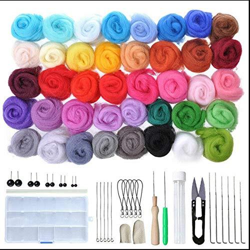 JasCherry Kit de Fieltro de Lana, 40 Colores de Lana para Fieltrar, Kit de Inicio de Fieltro de Aguja, Fieltro para Manualidades Hilado a Mano para Principiantes (3 g/Colore)