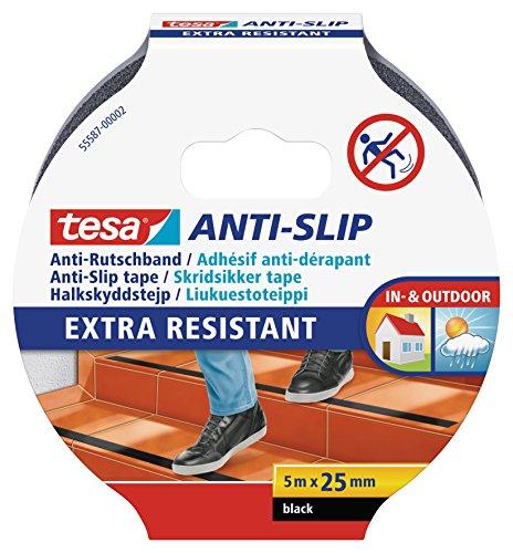 tesa Anti-Rutschband - Rutschfestes Klebeband für innen und außen - Für Treppen, Leitern und glatte Böden - Schwarz - 5 m x 25 mm