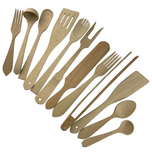 Procart Lot de 12 ustensiles de Cuisine en Bois de hêtre avec cuillères, spatules, fourchettes, louche et ustensiles de Barbecue, Bois Naturel