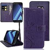KUAWEI Coque Samsung Galaxy A5 2017 Etui Flip Cover avec Fonction Stand et Fente pour Carte Portefeuille Housse de Multi-Usage à Protection complète pour Samsung A5 2017 5.2'(Violet)