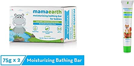 Mamaearth Moisturizing Baby Bathing Soap Bar pH 5.5 with Goat Milk and Oatmeal, 75g (Pack of 2) & Mamaearth 100 Percent Natural Berry Blast Kids Toothpaste, 50g