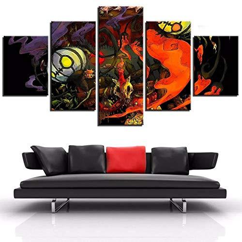IILSZMT Cuadros Modernos Impresión De Imagen Artística Lienzo Decorativo para Salón Dormitorio 5 Piezas 150X80Cm Linterna De Vela De Fuego De Calabaza De Halloween