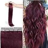 Extension Bande Adhesive Naturel Rajout Cheveux Naturel 100% Cheveux Humain Remy Pose a Froid 20 Pièces (#99J Vin Rouge, 20'(50cm))