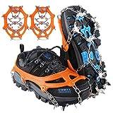 Seydrey Crampones, 19 Dientes Tacos de tracción Nieve y Hielo Tracción para Invierno Deportes Montañismo Escalada Caminar Alpinismo Cámping Acampada Senderismo (Naranja, L)