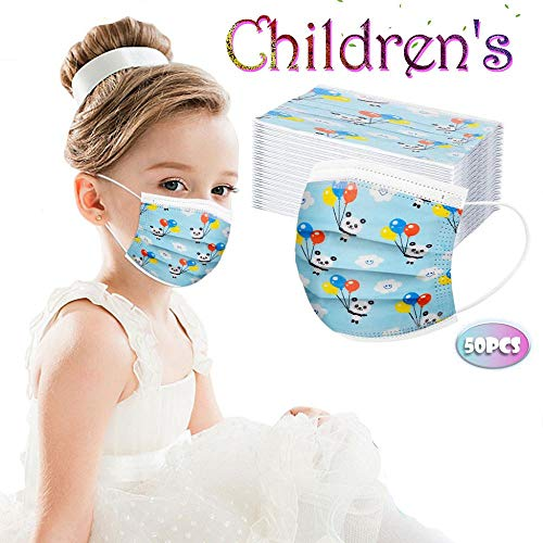 Damonday Niños Protección 3 Capas Transpirables con Elástico para Los Oídos Pack 50 unidades Impresión de Panda 0715B