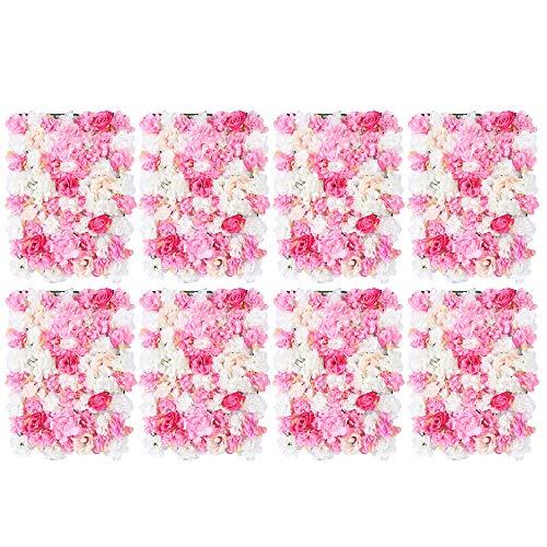 HaroldDol 8 Stücke Künstliche Blumen Säule, Kunstblumen Panel DIY Blumenwand Rosenwand für Garten Hochzeit Dekor - Rosa Weiß