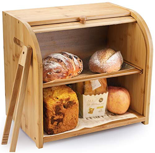 Lawei 2 Layer Bamboo Bread Box - Roll Top Large Bread Bin with Toast Tongs Bread Storage Box Countertop Bread Keeper for Kitchen Food StorageSelf-assembly