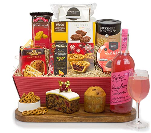 Celebrations (Non-Alcoholic) Hamper is brimming with Traditional Treats All Hand Wrapped in a Bordeaux Tray with Bow and Free DELIVERY