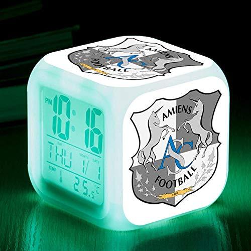 Spetich Reloj de cubo de reloj despertador con luz LED digital, pantalla LCD muestra hora, fecha, temperatura,Ciudad de barcelona-Regalo de Navidad de cumpleaños