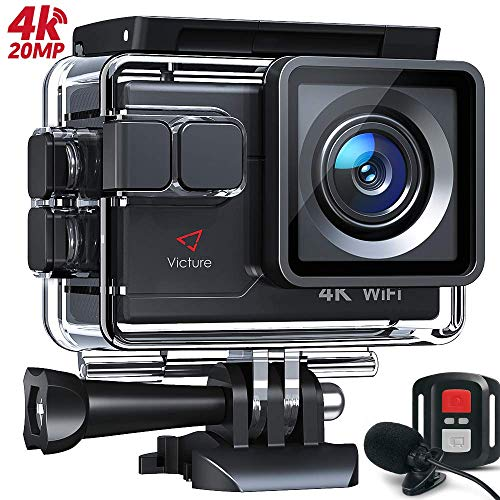Victure AC700 4K 20MP Action Camera, PC Webcam with External Microphone Remote Control EIS 40M Underwater Recording Camera, Waterproof Sports Video Cam, 2 Batteries and Accessories Kit Included