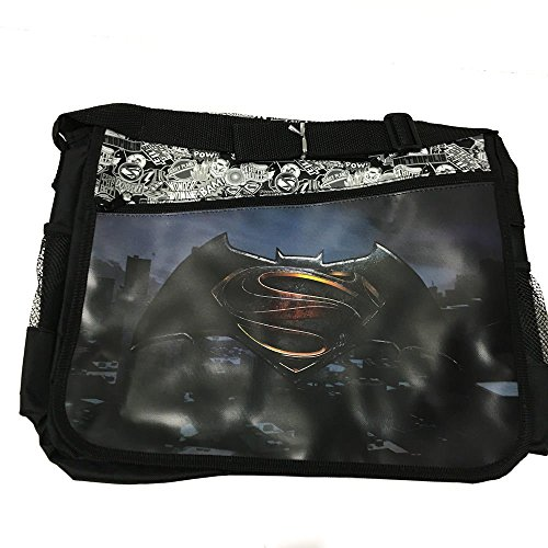 "DC Comis Batman vs Superman 16"" Large Black Messenger Backpack School Book Bag-Black"
