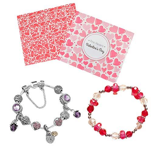 Kousa Pulsera de abalorios, pulseras de cristal, para fiestas, disfraces, joyas con caja de regalo para niñas.