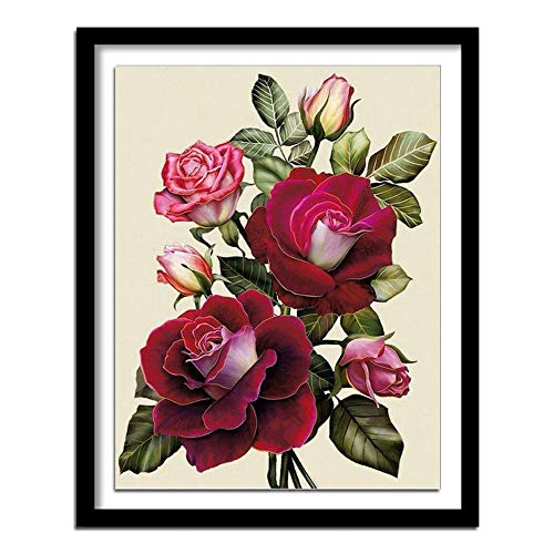5D Diamond Painting Kits for Adults Full Drill Flower Diamond Embroidery Kids DIY Pasted Crystal Rhinestone Cross Stitch Mosaic Round Diamond Art Craft for Home Wall Decor Gift (30x40cm,12x16inch)