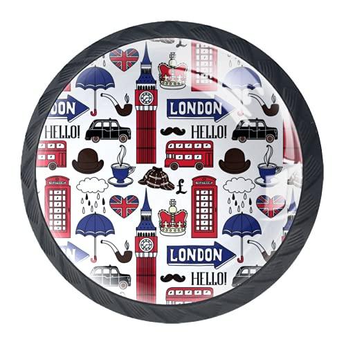 Manijas para cajones Perillas para gabinetes Perillas Redondas Paquete de 4 para armario, cajón, cómoda, cómoda, etc.. Vector de monumentos de símbolos de Londres