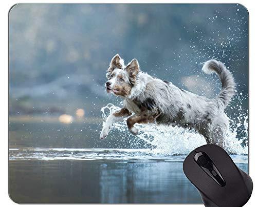 Naturkautschuk-Gaming-Mauspad mit Spritzwasser gedruckt Australischer Schäferhund - genähte Kanten