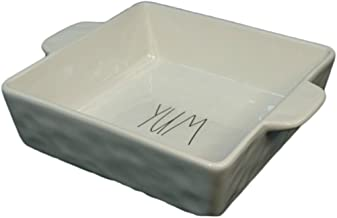 Rae Dunn by Magenta Large 9 Inch Square YUM Casserole, Baking Dish or Cake Pan