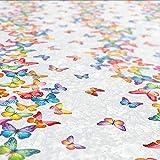 ANRO Wachstuch Tischdecke abwaschbar Wachstuchtischdecke Wachstischdecke Schmetterlinge Silber Bunt 200x140cm - 9